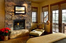 Bamboo Shades For Windows With Stone Wall And Fireplace Rustic Living Room Ideas Armchair Footstool Also Floor Lamp On Hardwood Flooring