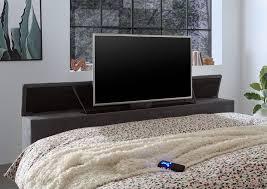 denver boxspringbett 180x200cm dunkelgrau inkl bettkasten motorisierte tv halterung