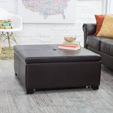 Hartley Coffee Table Storage Ottoman with Tray Side Ottomans