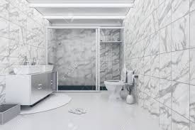 100 Marble Flooring Design 3D Rendering Illustration Of White Toilet And Bathroom With