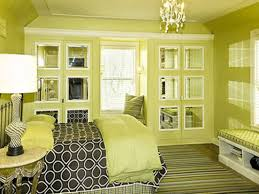 Nice Master Green Bedroom Ideas With Mini Crystal Chandelier And Built In Wardrobe Mirror