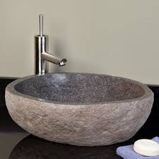 dark gray river stone vessel sink vessel sinks bathroom sinks