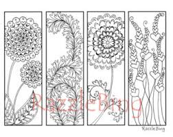 DIY Valentines Day Printable Bookmarks Coloring Page Zentangle Inspired Heart Flowers 1