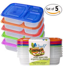 Orgalif Bento Lunch Box Container Food Storage 3 Compartments