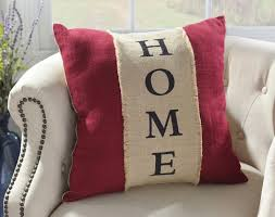 Red Burlap Home Pillow AccentsBurlapRustic FarmhouseFarmhouse StyleThrow