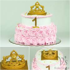 First Birthday Cake For Princess Jyothsna With A Fondant Tiara Its