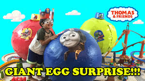 Thomas The Train Pumpkin Designs by Giant Egg Surprise Opening Thomas And Friends Toy Trains Youtube