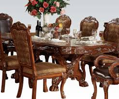 Ortanique Round Glass Dining Room Set by Dresden Traditional Cherry Oak Wood Dining Table Kitchen Dining