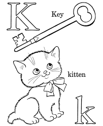 K Words Alphabet Coloring Pages Free