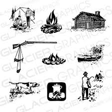 Vintage Camping Hunting Fishing Illustrations Clipart Copyright Free