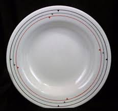 Daher Decorated Ware Tray 1971 by Oxford Rimmed Soup Bowl 6870 Made In Brazil White Art Geometric