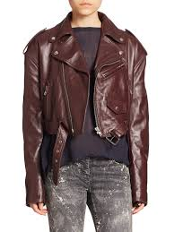 faith connexion cropped leather biker jacket in purple lyst