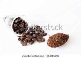 Spilled Coffee Beans From Transparent Cup Powder On Spoon Isolated White Background