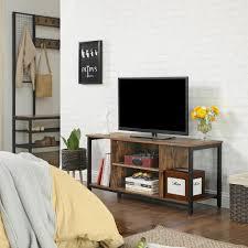 vasagle tv schrank mit offenen fächern lowboard 110 x 40 x 50 cm fernsehtisch tv regal industrie design vintage dunkelbraun ltv39bx