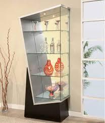 corner glass display cabinet silver effect naindien