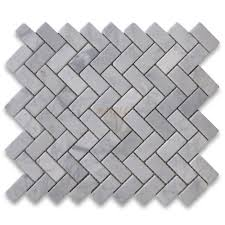 carrara white 1x2 herringbone mosaic tile tumbled marble from