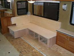 The Folks Over At Truline RV Also Custom Built Dinette Seating Area And Cabinets From Cherry Wood They Incorporated Additional More Convenient