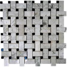 Home Depot Marble Tile by Splashback Tile Magnolia Weave White Carrera 3 4 In X 2 In With