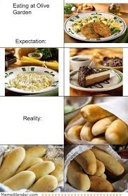 Eating at Olive Garden – Expectation vs Reality Meme Collection