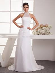 sheer high neck pleated chiffon wedding dress
