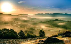 Tuscany Landscape Sunrise Mist Wallpaper Desktop Background Tuscan Style Ideas