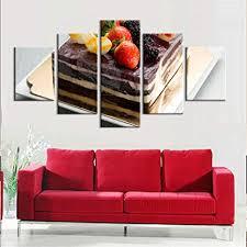 binghongcha 5 teilig modern leinwand bild wandbilder kuchen