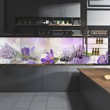 wandmotiv24 küchenrückwand lila steine glas flieder krokusse flow 240 x 60cm b x h acrylglas 4mm nischenrückwand spritzschutz
