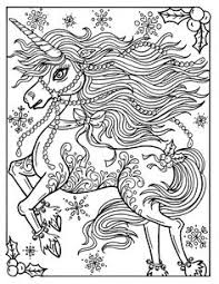 Christmas Unicorn Adult Coloring Page Book Holidays Fantasy Art