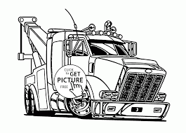 Large Tow Semi Truck Coloring Page For Kids, Transportation Coloring ...