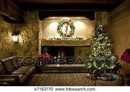 rustikal weihnachten wohnzimmer stock bild k7163770
