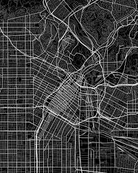 Road Map Poster Featuring The Digital Art Los Angeles California Usa Dark By Jurq Studio
