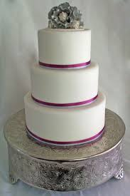 3 Tier White Fondant Round Wedding Cake With Purple And Silver Ribbons Southern Magnolia