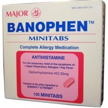 Major Banophen Diphenhydramine Allergy Medication - 25mg, 100 Capsules
