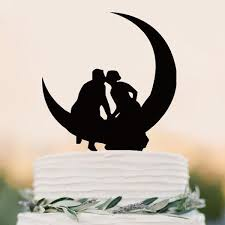 Wedding Cake Topper Romantic Kiss Hold Hands Anniversary Engagement Material Acrylic
