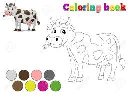 Livre De Coloriage Vache Mise En Page Pour Les Enfants Bande