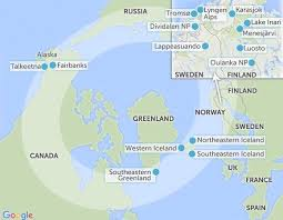 Map of Aurora Ring Showing which countries to experience the