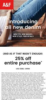 Abercrombie & Fitch Coupons - 25% Off At Abercrombie & Fitch, Or ... Abercrombie Survey 10 Off Af Guideline At Tellanf Portal Candlemakingcom Fgrance Discounts Kids Coupons Appliance Warehouse Coupon Code Birthday September 2018 Whosale Promo For Af Finish Line Phone Orders Gap Outlet Groupon Universal Orlando Fitch Boys Pro Soccer Voucher Coupon Code Archives Coupons For Your Family Express February 122 New Products Hollister Usa Online Top Punto Medio Noticias Pacsun 2019