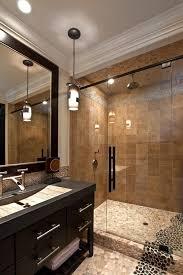 tan black pebble tile shower and bathroom flooring pebble tile