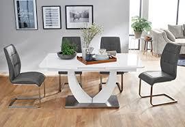 expendio tischgruppe säulentisch ulrik weiß 4 stühle gemma