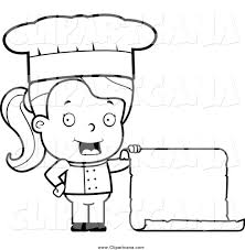 Cartoon Clip Art of a Lineart Female Toddler Chef Holding a Blank Menu