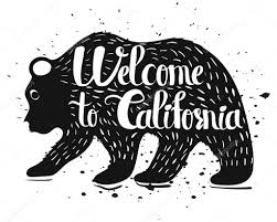 Vintage Handlettering Poster On The Topic Of California USA Isolated Silhouette A Bear With Text White Background Vector Illustration By