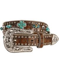 nocona turquoise hue stone cross u0026 croc print leather belt sheplers