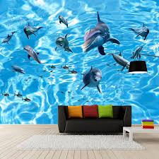 chambre dauphin personnalisé 3d photo murale papier peint vagues dauphin de haute