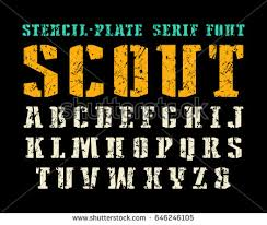 Stencil Plate Serif Font In Military Style Letters With Shabby Texture Print On