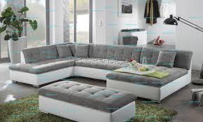 canape panoramique design canapé d angle panoramique design en pu blanc et tissu gris ceferino