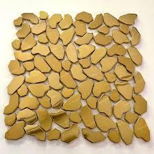 mosaikfliese aus goldenem metall für wand oder boden dusche und bad syrus gold