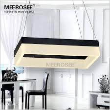 Black Rectangle Chandelier Led Pendant Light Modern Suspension Fixture Gold Dining Room Lamp Design In