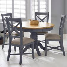 Bordeaux Painted Taupe Round Extending Dining Table 4 Chairs Seats 46 Costco UK