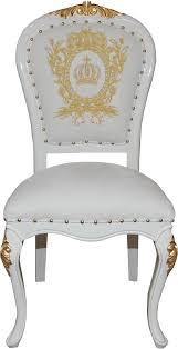 pompöös by casa padrino luxus barock esszimmerstühle mit krone weiß gold pompööse barock stühle designed by harald glööckler 6 esszimmerstühle