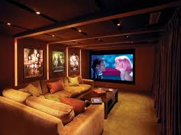 Home Theater Room Design Ideas Picture Frame On The Beige Wall Black Leather Sofas Ceiling Paint Color Cup Holder Grey Fur Carpet Cone